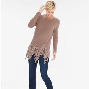 Chico's Drama Fringe Pullover Long Sleeve Sweater